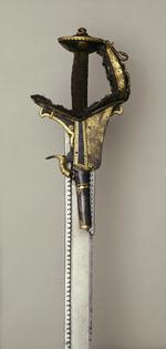 Thumbnail image of Sword (khanda) with dagger (katar) and scabbards Sword (khanda) with dagger (katar) and scabbards with percussion pistol