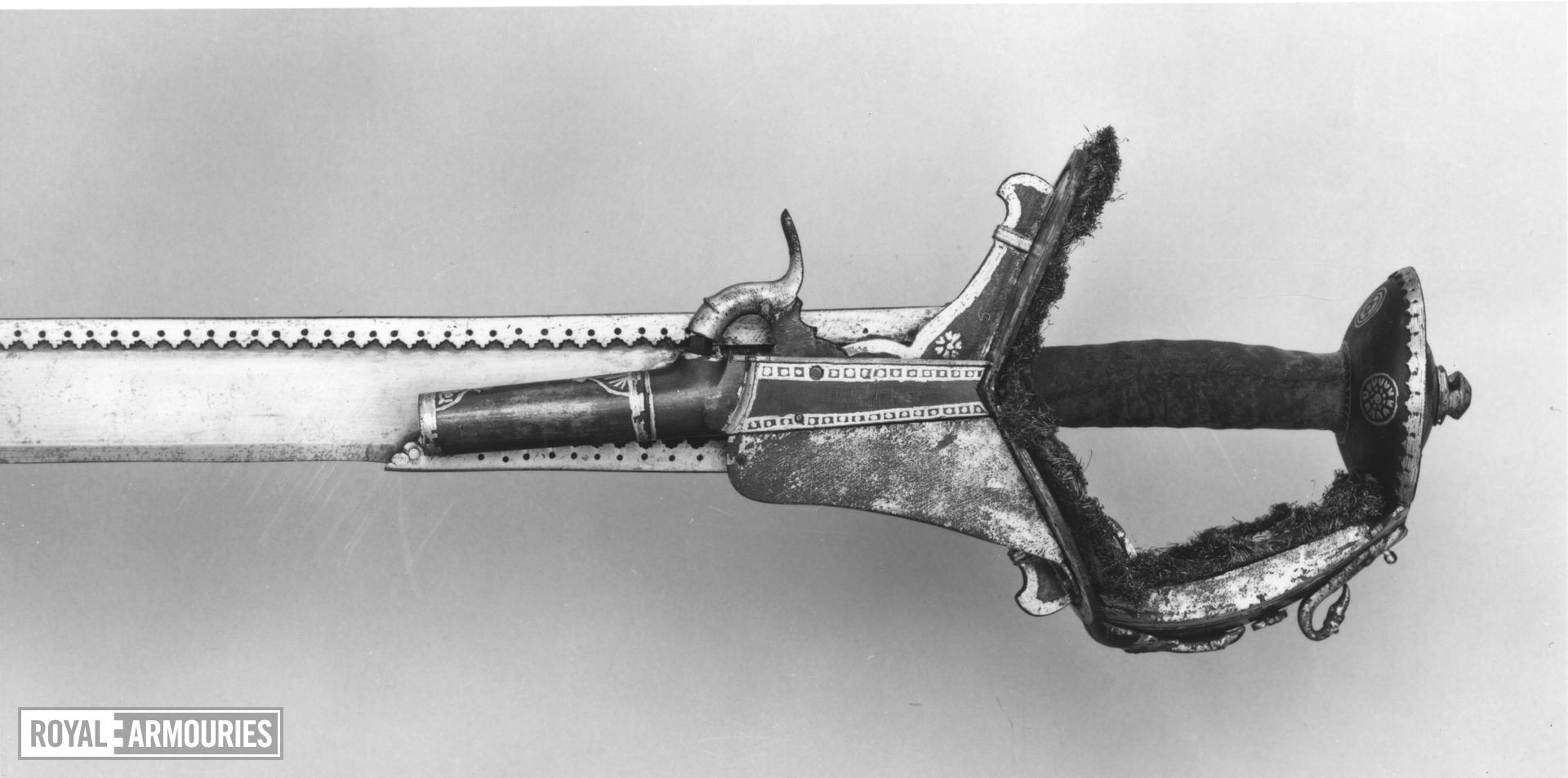 Sword (khanda) with dagger (katar) and scabbards Sword (khanda) with dagger (katar) and scabbards with percussion pistol