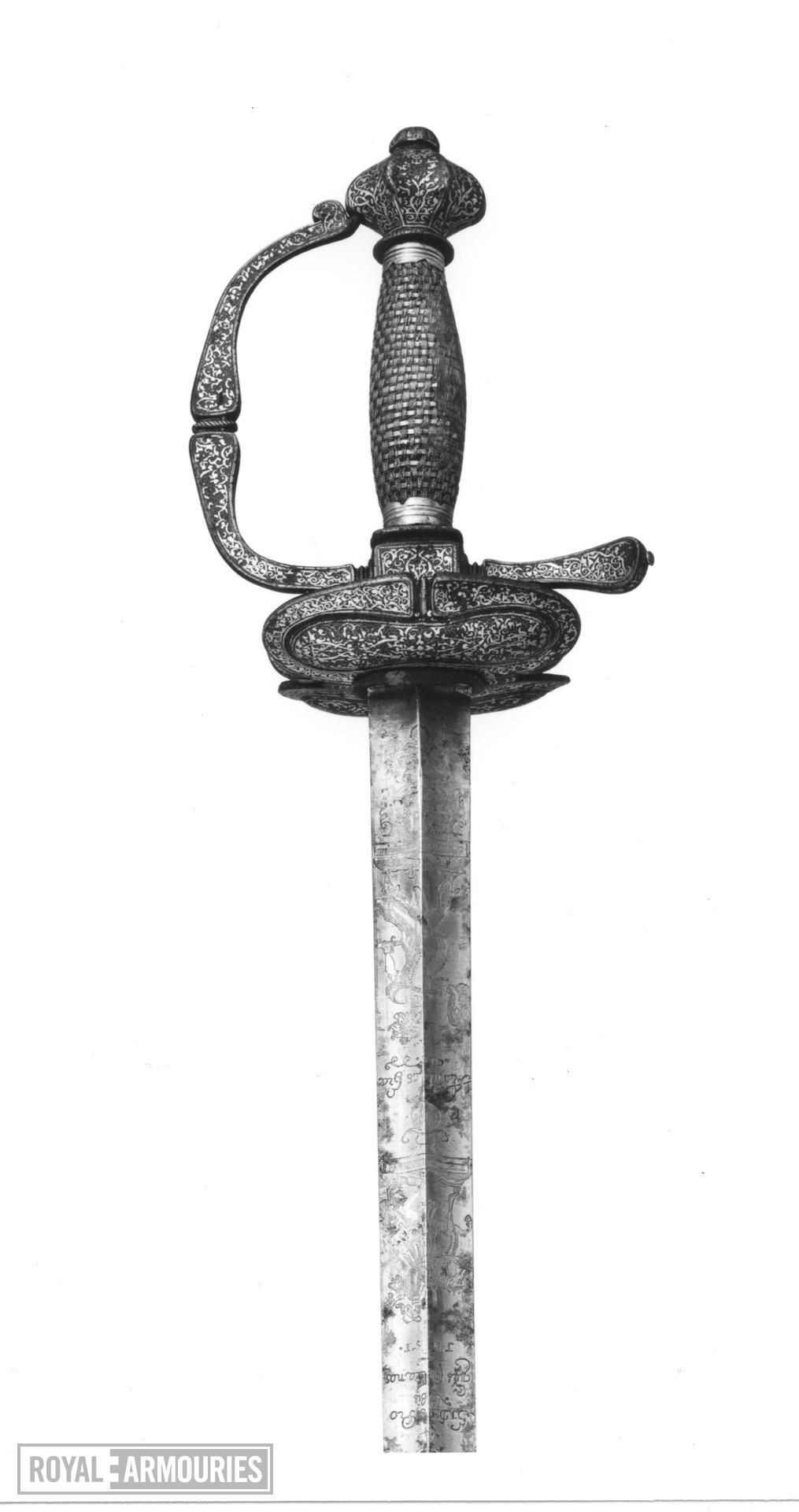 Sword and scabbard Small sword and scabbard. Traditionally the sword of Major General Charles Worsley