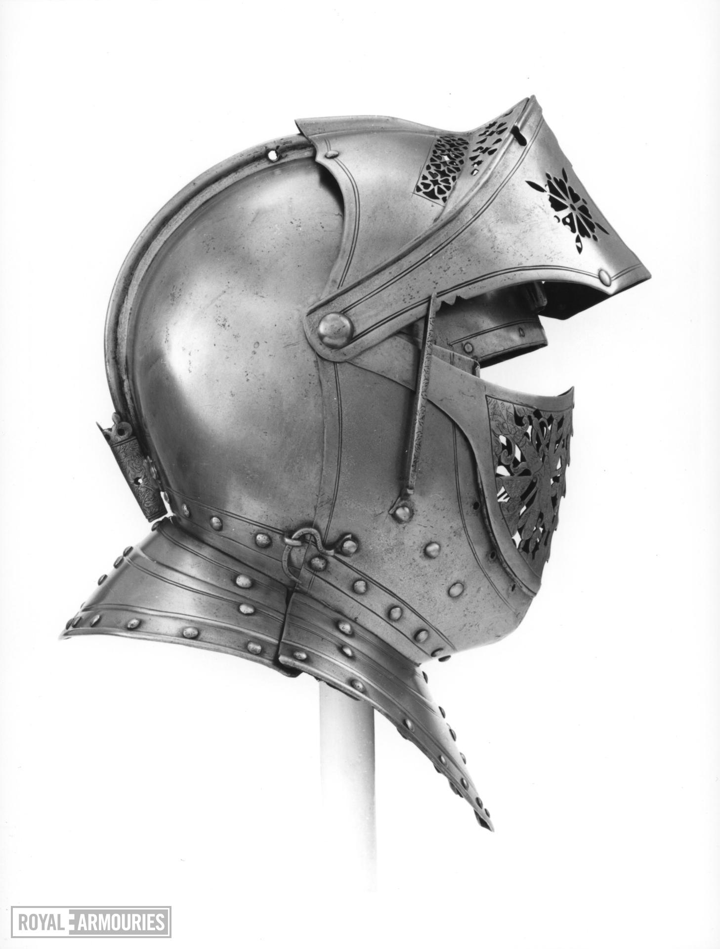 Close helmet Part of armour II.363, possibly for Charles II