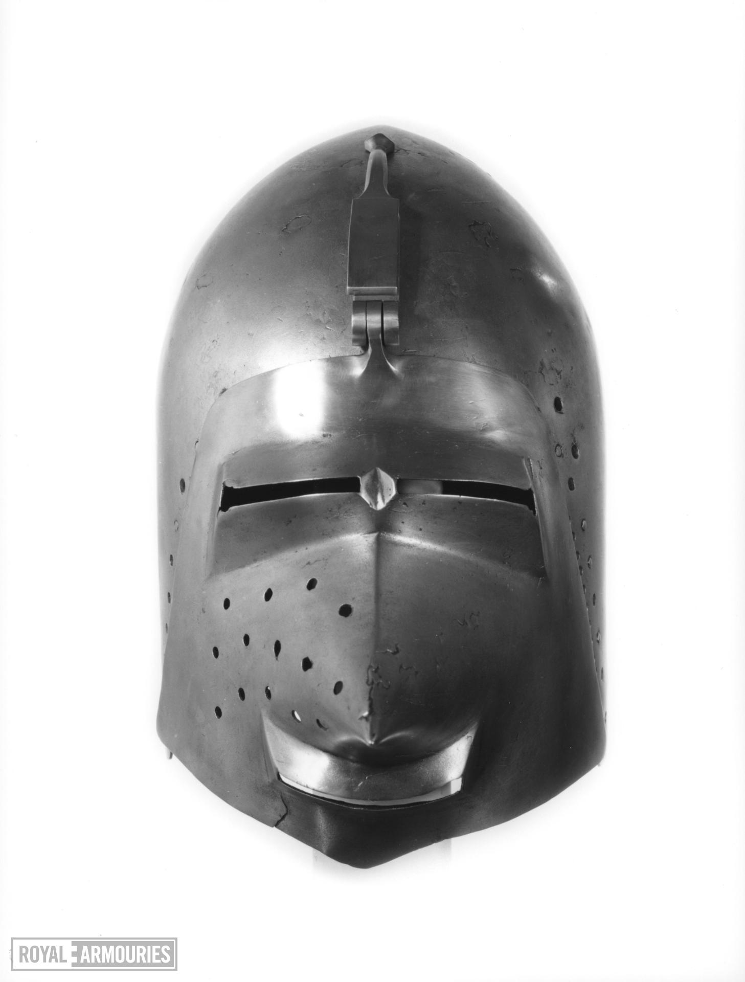 Bacinet Bascinet with centrally hinged visor, probably German