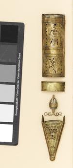 Thumbnail image of Scabbard mounts for gladius Scabbard mounts for gladius: comprising locket, applique palmette, chape and modern collar.