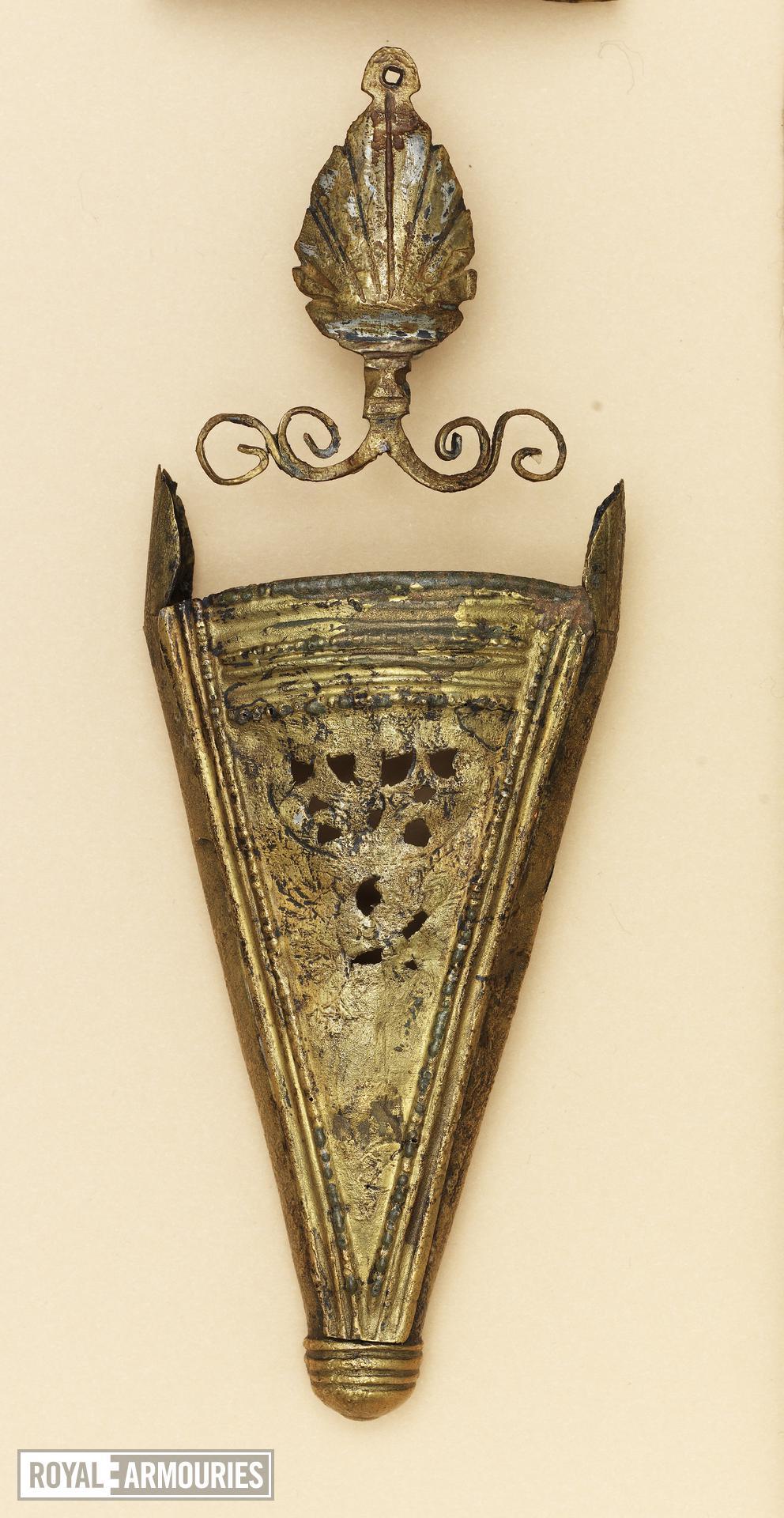 Scabbard mounts for gladius Scabbard mounts for gladius: comprising locket, applique palmette, chape and modern collar.