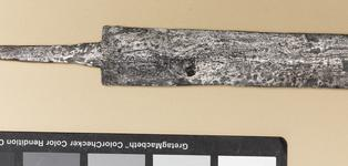 Thumbnail image of Gladius and scabbard mounts Gladius and scabbard mounts of the 'Pompeii type', from the Alex Guttmann Collection.