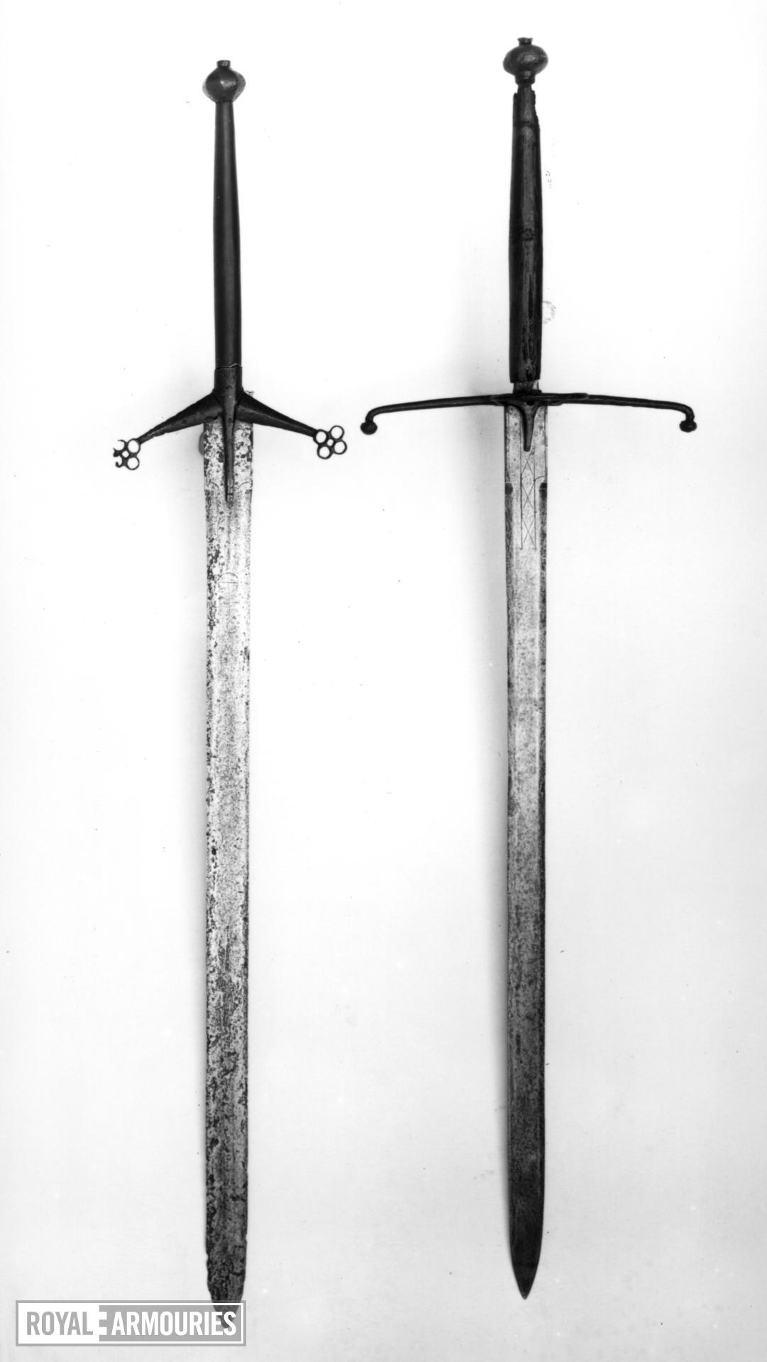 Sword Two-handed Highland sword (claidheamh da laimh). Popularly known as a 'claymore' (Gaelic: claidheamh mor)