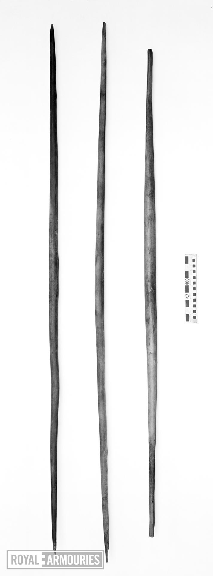Long bows recovered from the wreck of the Mary Rose sunk in 1545. English, mid 16th century