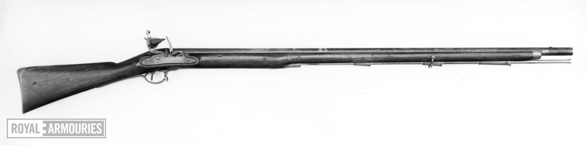 Flintlock muzzle-loading military musket - Duke of Richmond's Musket Rammer to the Muzzle Pattern Experimental, by H. Nock with screwless lock An order for 10,000 was placed on December 26th 1792, but was not completed until 1797.