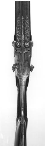 Thumbnail image of Centrefire breech-loading double-barrelled gun - By Pauly Invented by Pauly