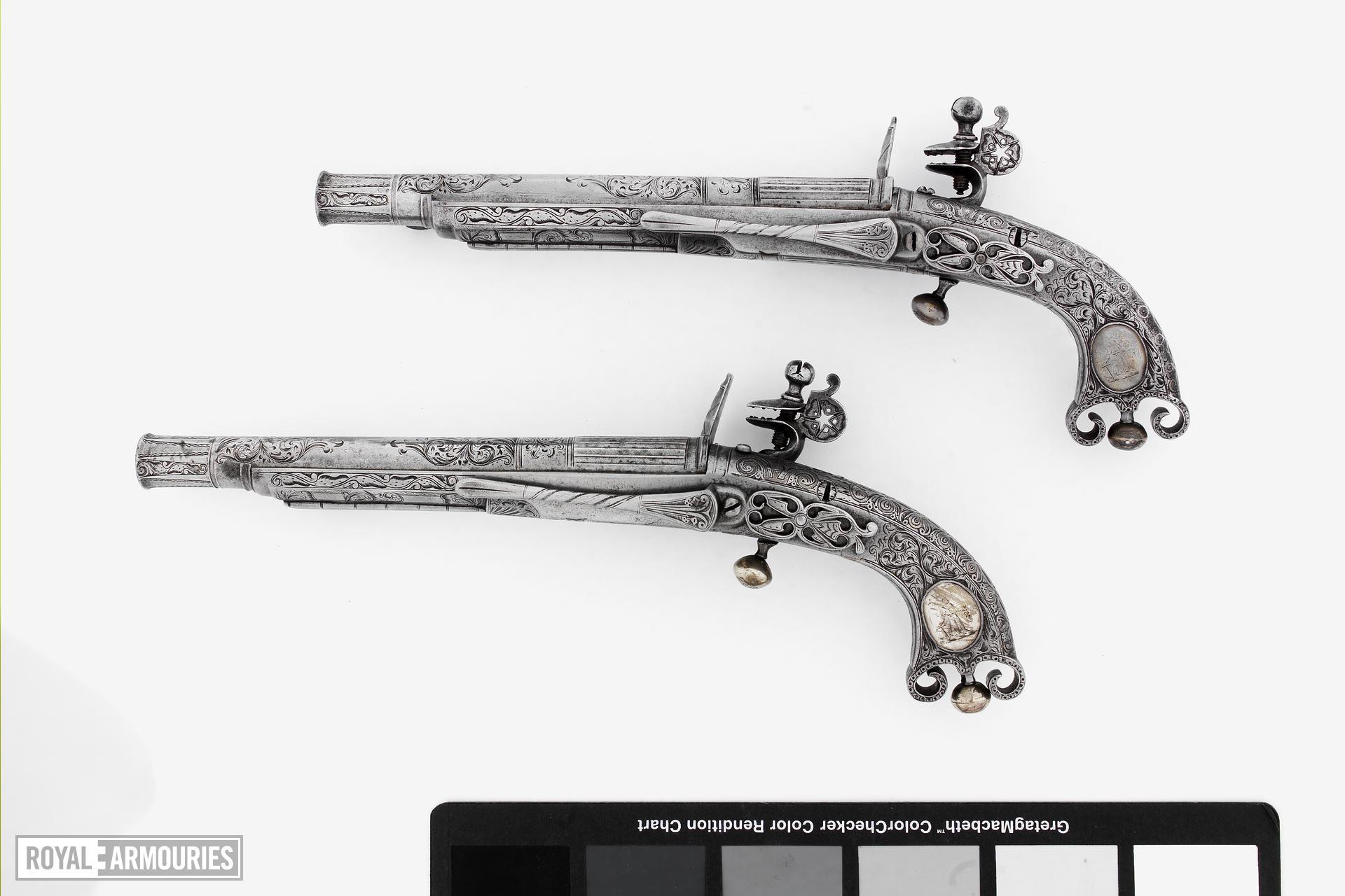 Flintlock pistol By J. Murdoch One of a pair; with XII.1673
