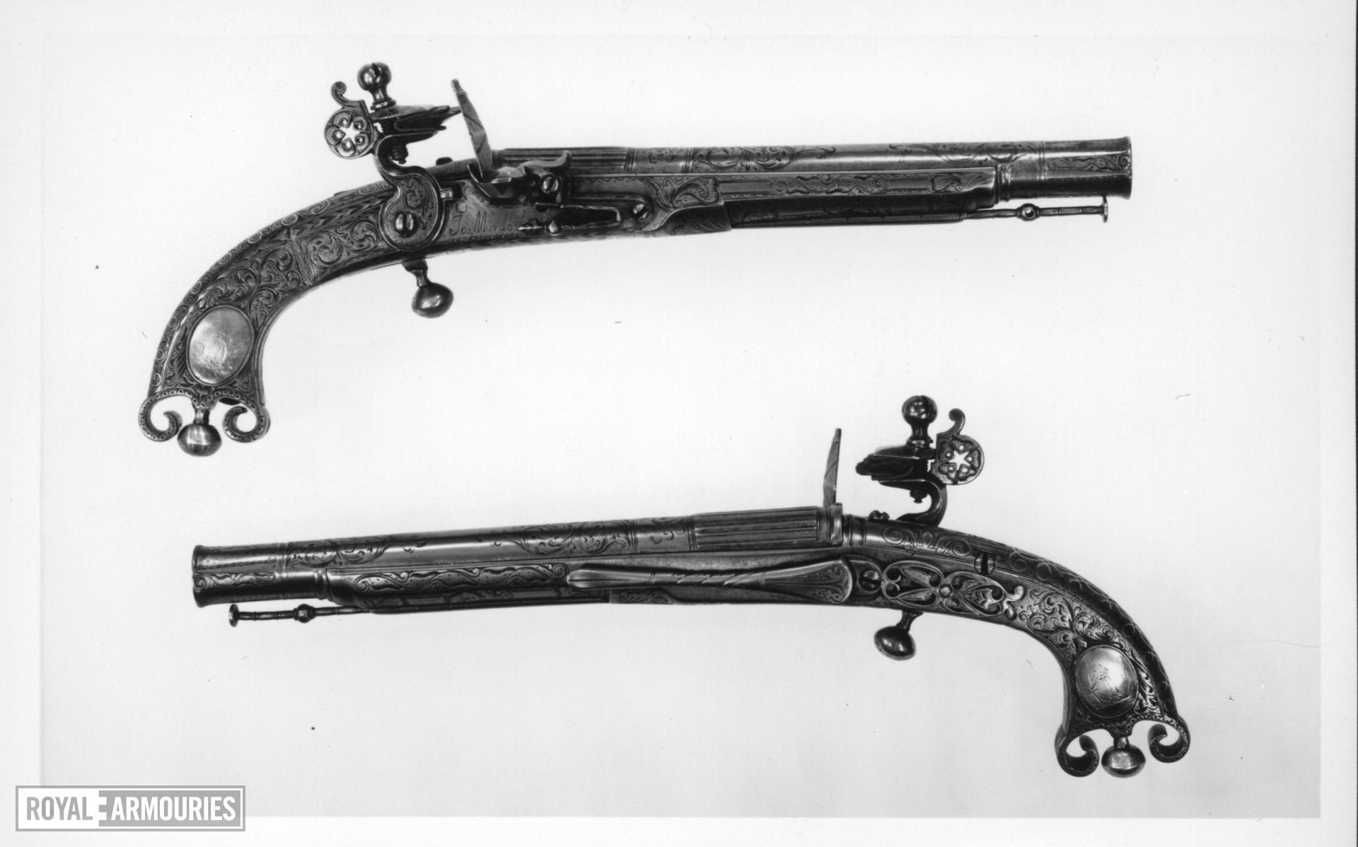 Flintlock pistol By J. Murdoch One of a pair with XII.1674