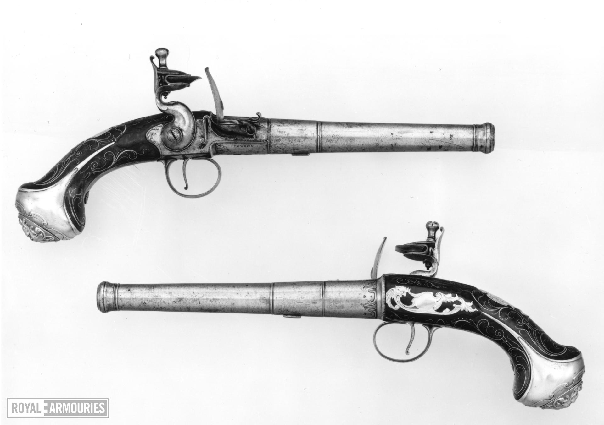 Flintlock holster pistol By W. Turvey One of a pair see XII.1704
