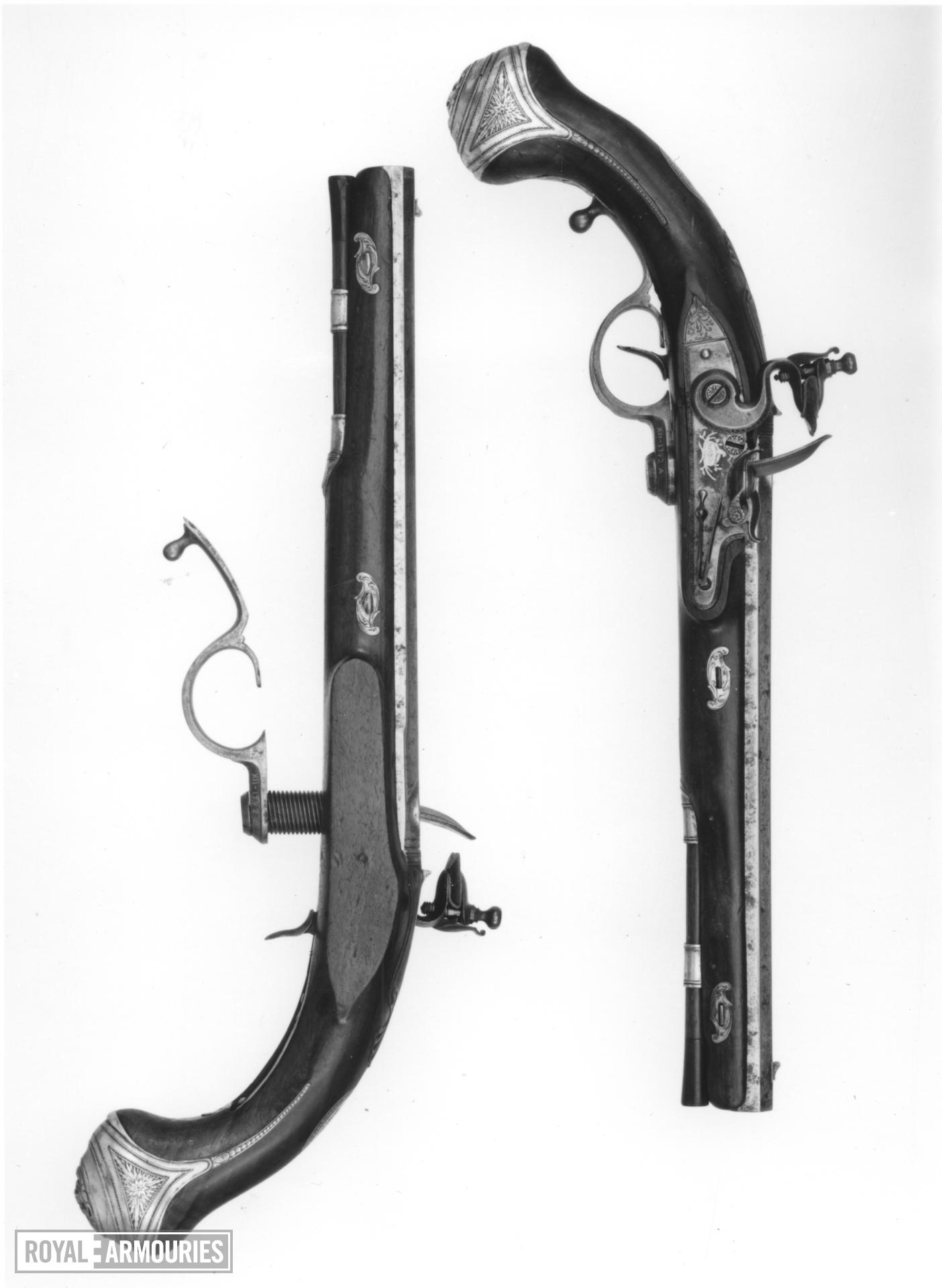 Flintlock breech-loading holster pistol By Jover; of Ferguson pattern One of a pair; see XII.1792 A