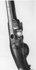 Thumbnail image of Flintlock breech-loading holster pistol By Jover, of Ferguson pattern One of a pair see XII.1792 B
