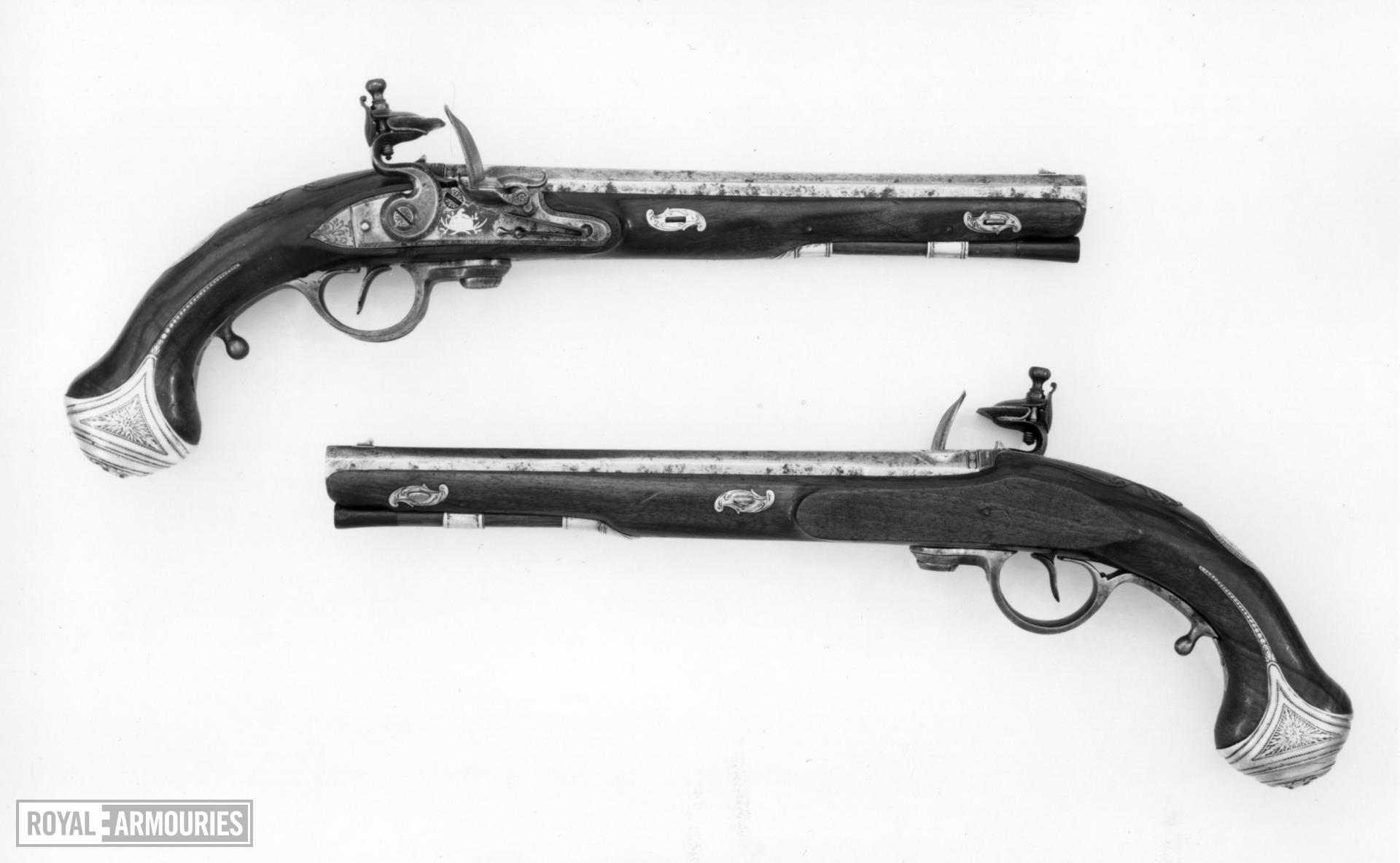 Flintlock breech-loading holster pistol By Jover, of Ferguson pattern One of a pair see XII.1792 B