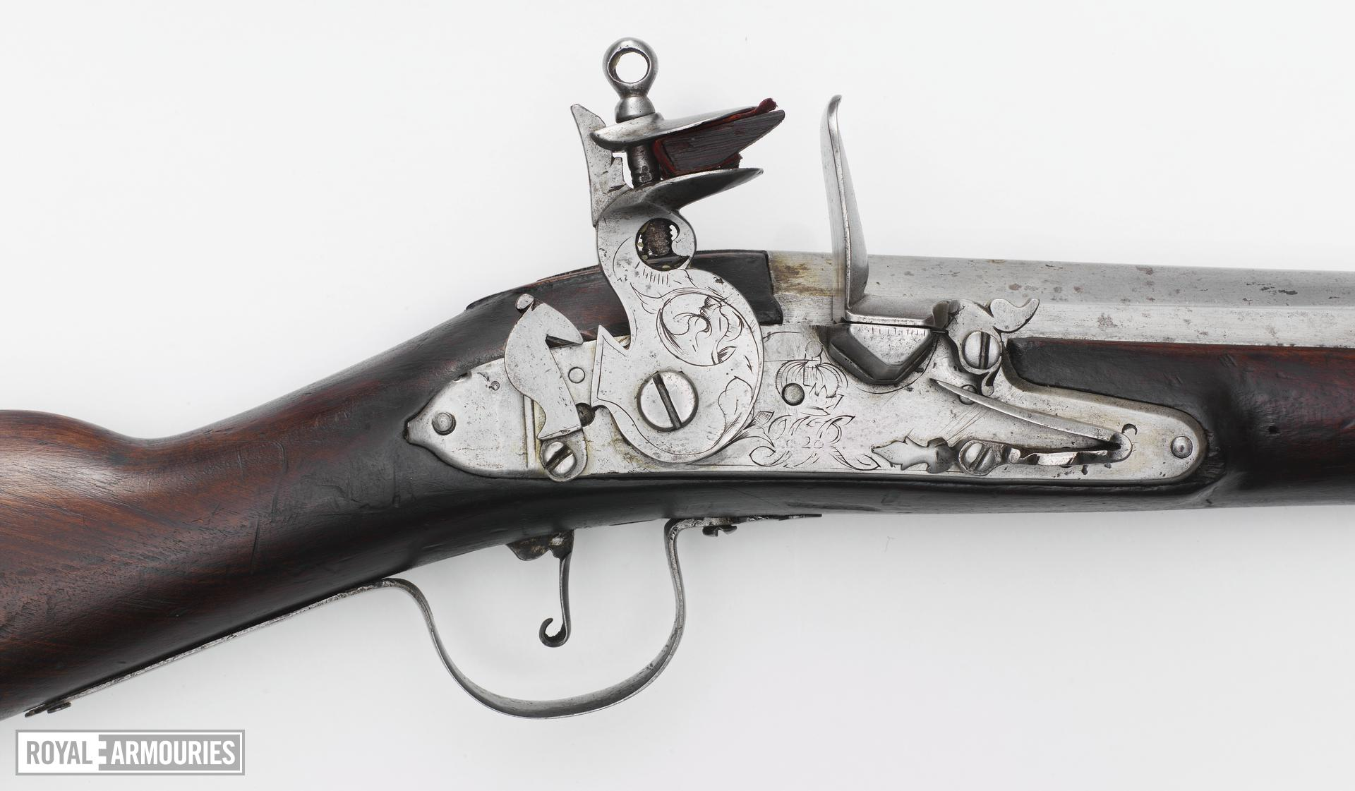 Flintlock muzzle-loading military grenade musket - By I. Hartwell