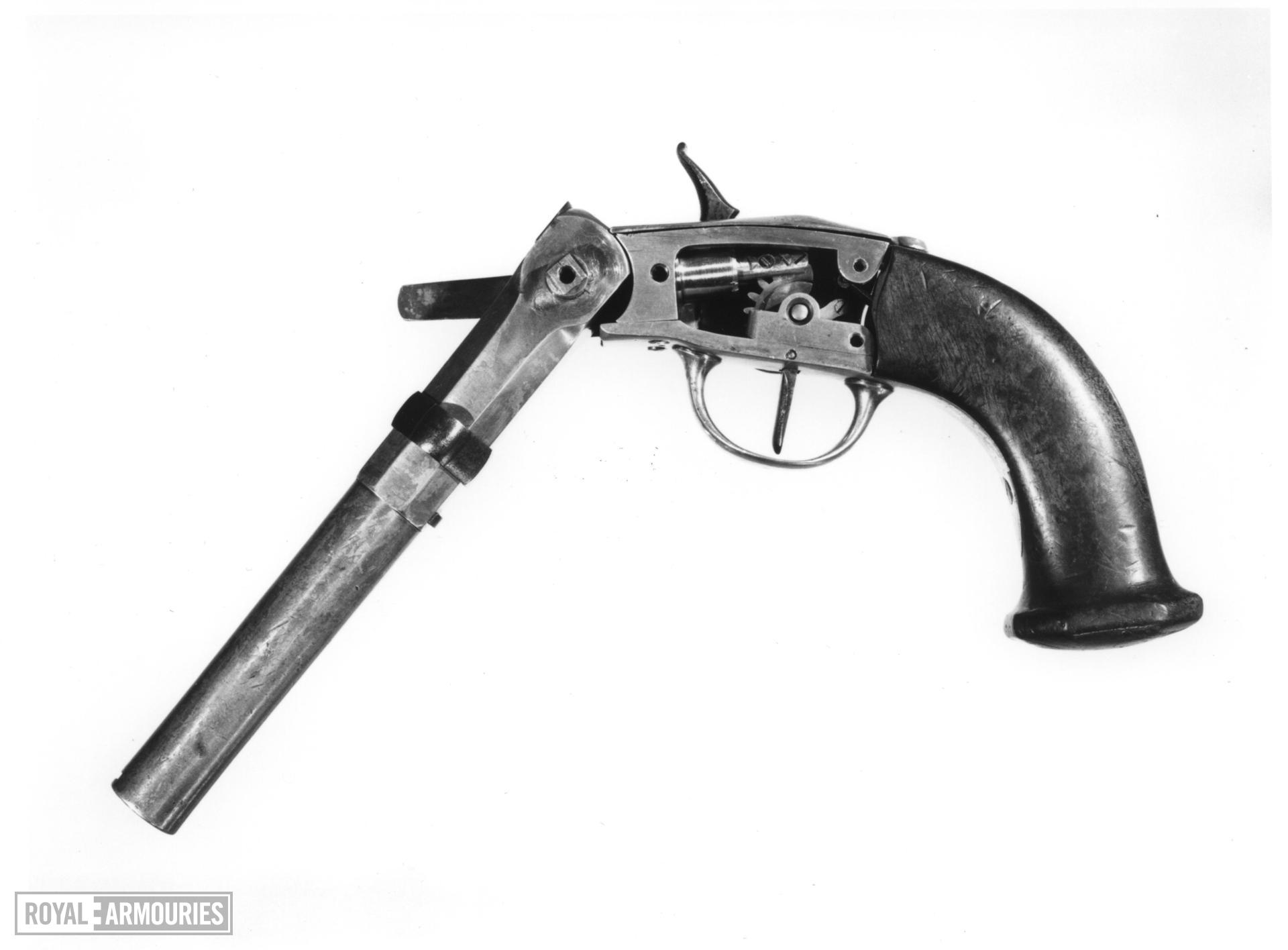 Breech-loading pistol Designed to utilise the heat from air as it is rapidly compressed to ignite the charge. pistol by Pauly c 1814