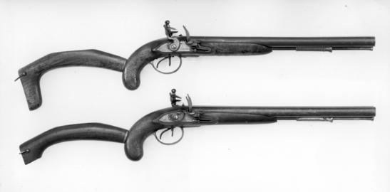 Flintlock muzzle-loading military pistol-carbine