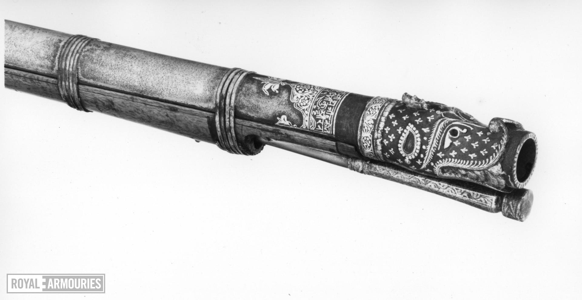 Matchlock musket (toradar) with a tiger headed muzzle
