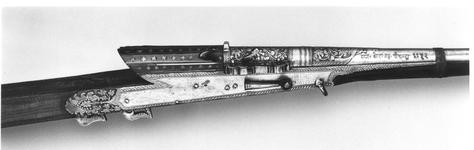 Thumbnail image of Matchlock two-shot musket (toradar) for superimposed loads.