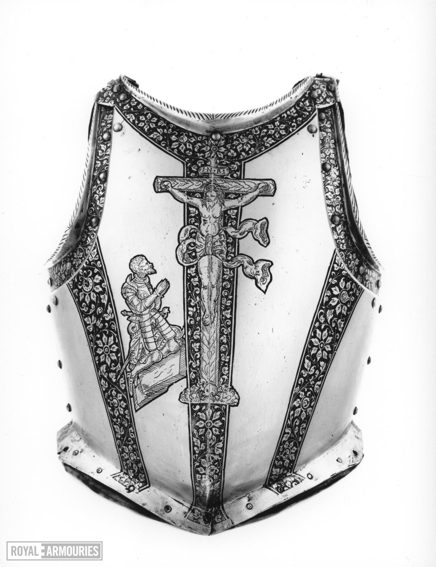 Portions of an armour Consisting of helmet for combat on foot, gorget and cuirass