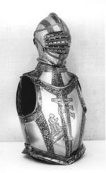 Thumbnail image of Portions of an armour Consisting of helmet for combat on foot, gorget and cuirass