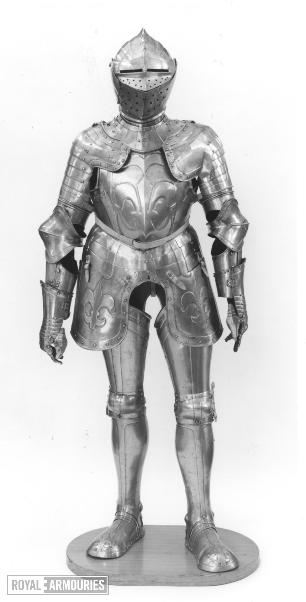 Field armour composite, embossed with fleur-de-lys, with modern additions