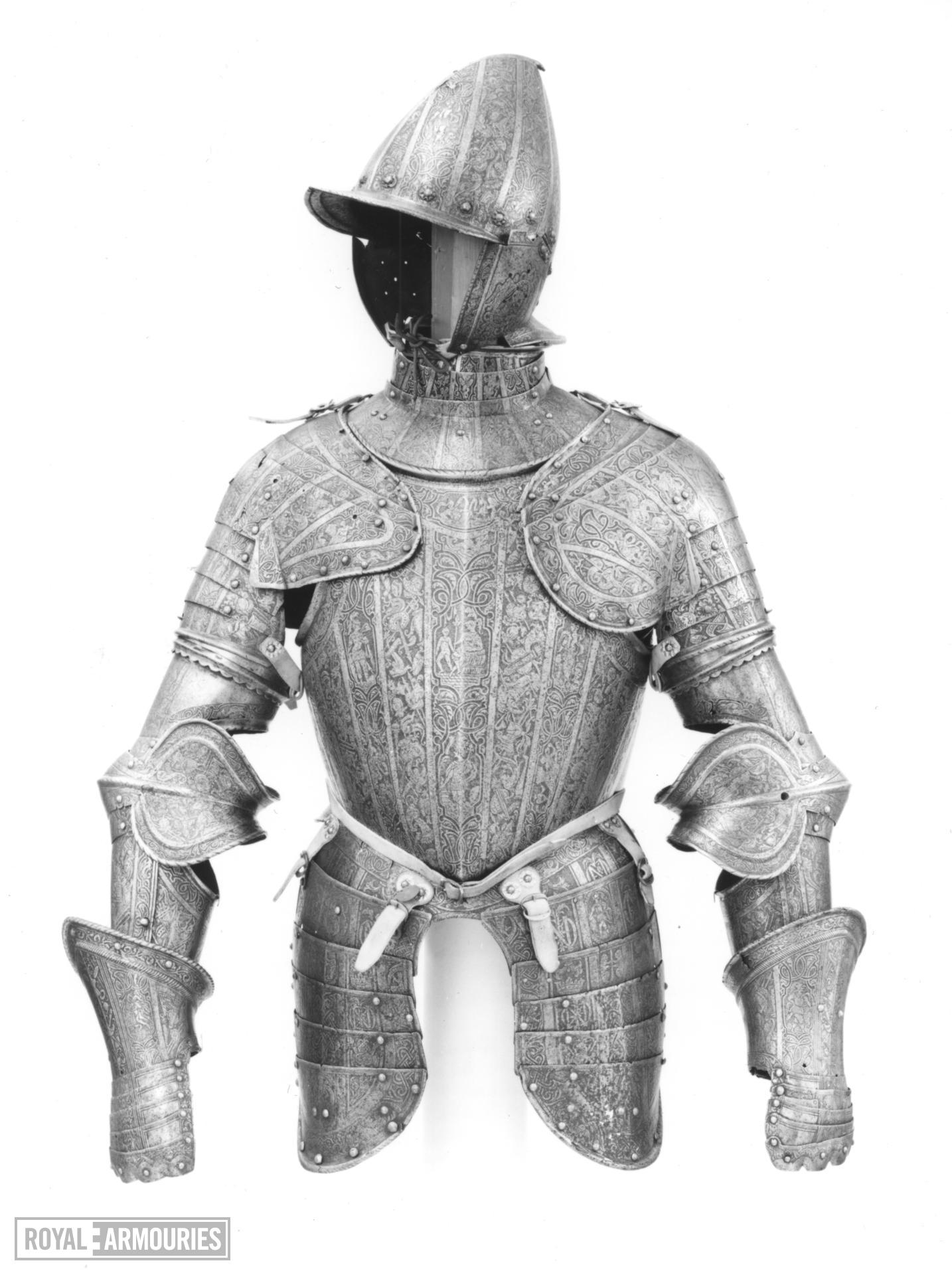 Half armour Consists of a burgonet, gorget, breastplate, backplate, tassets, pauldrons, vambrace, gauntlets.