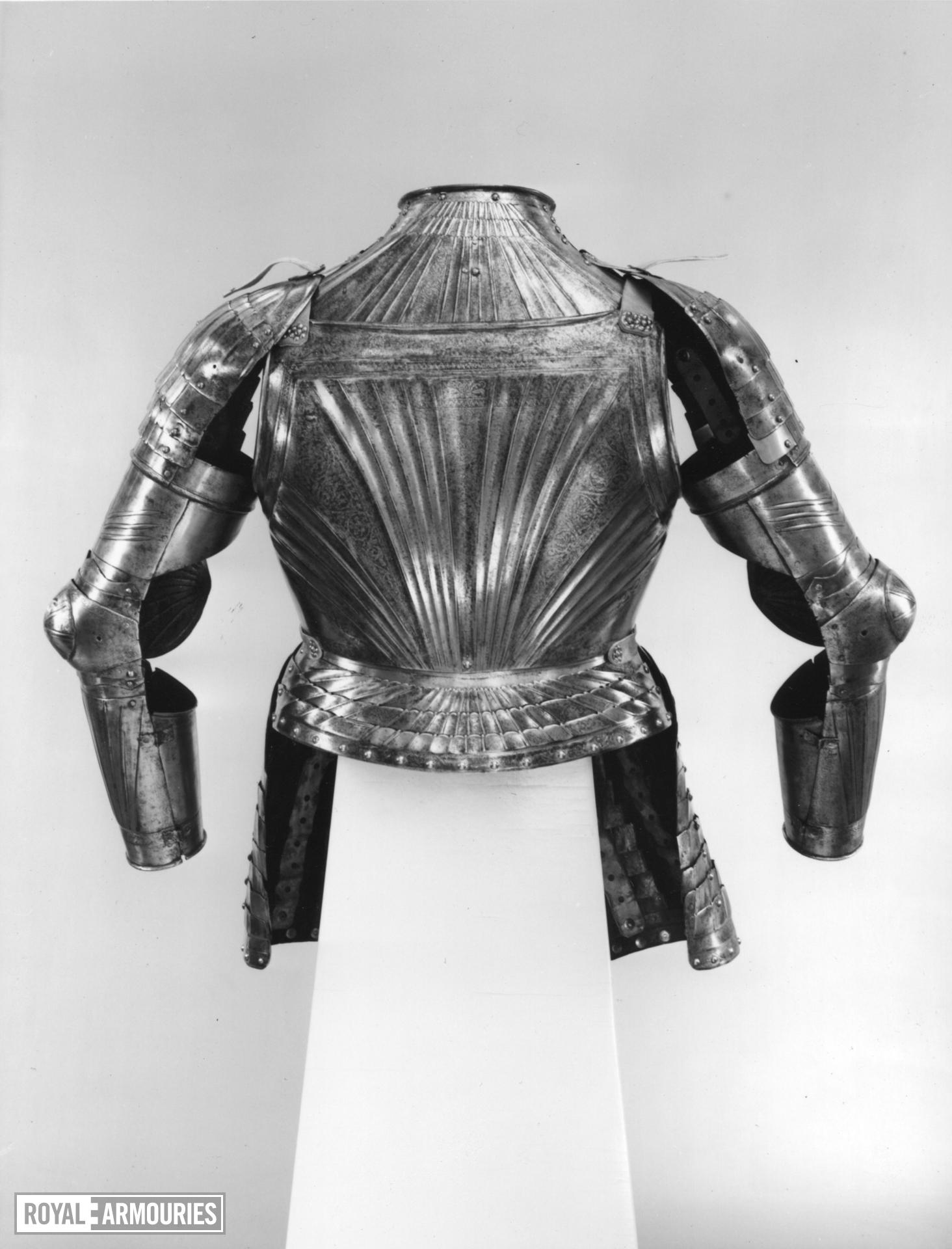 Half Armour consisting of breast and back plate, gorget, and tassets.