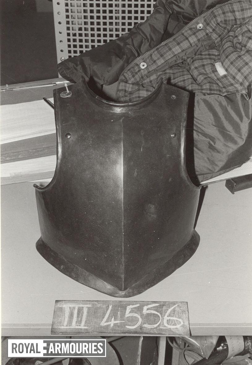Harquebusier's breastplate For a harquebusier.