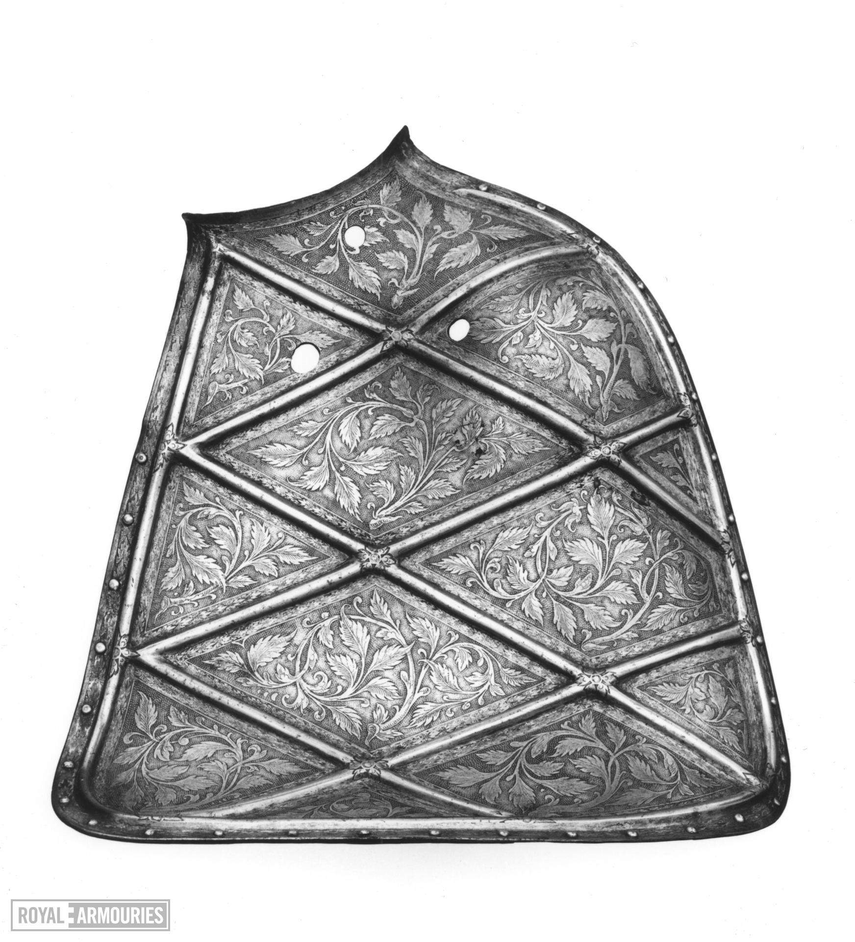 Shoulder shield For the Plankengestech, from the Rose-leaf garniture of the Emperor Maximilian II, made by Franz Grosschedel.