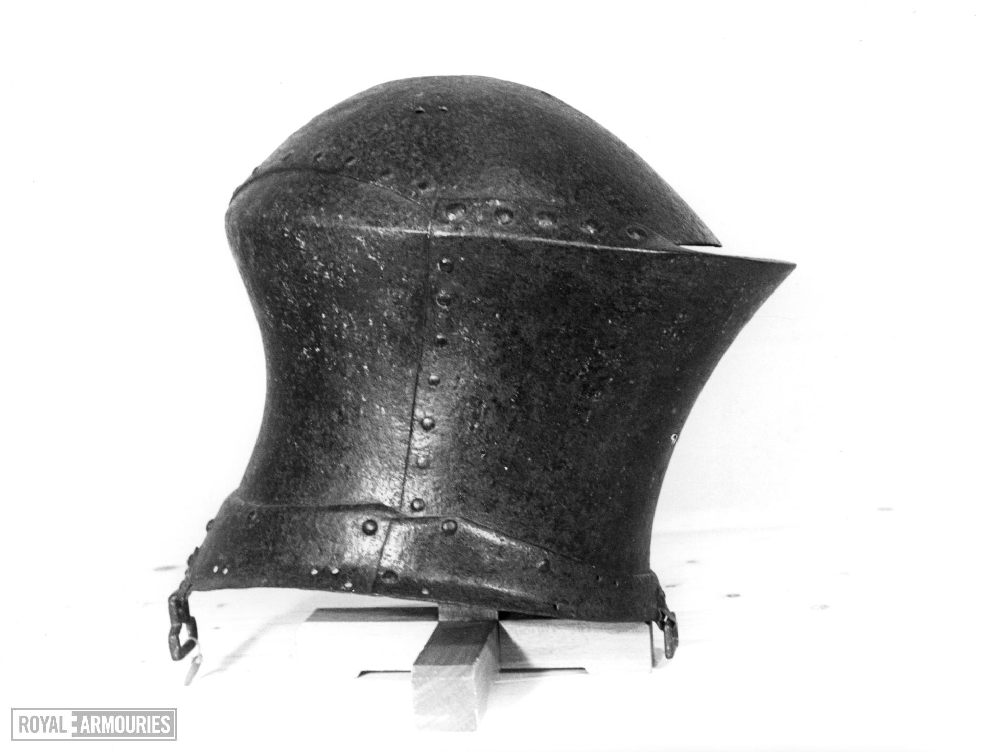 Jousting helm From the tomb of Sir William Barendyne, St Peter's Church, Great Haseley, Oxfordshire.