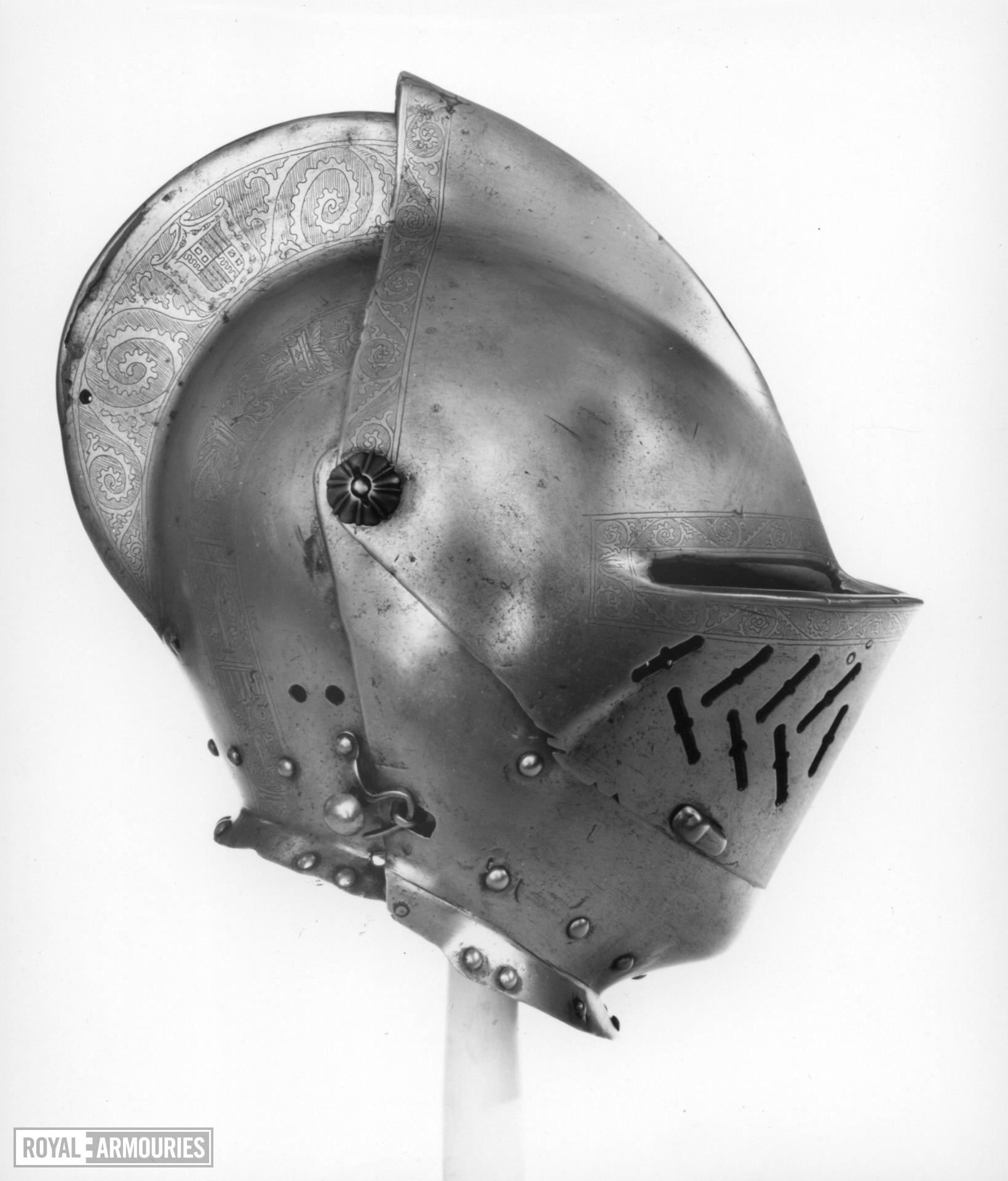 Close helmet Close helmet for the tourney, with later decoration to match greave (III.823 B)