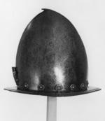 Thumbnail image of Spanish morion with plume holder, and geometric decorative rivets above brim.