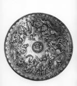 Thumbnail image of Rondache Embossed with lion and battle scene.
