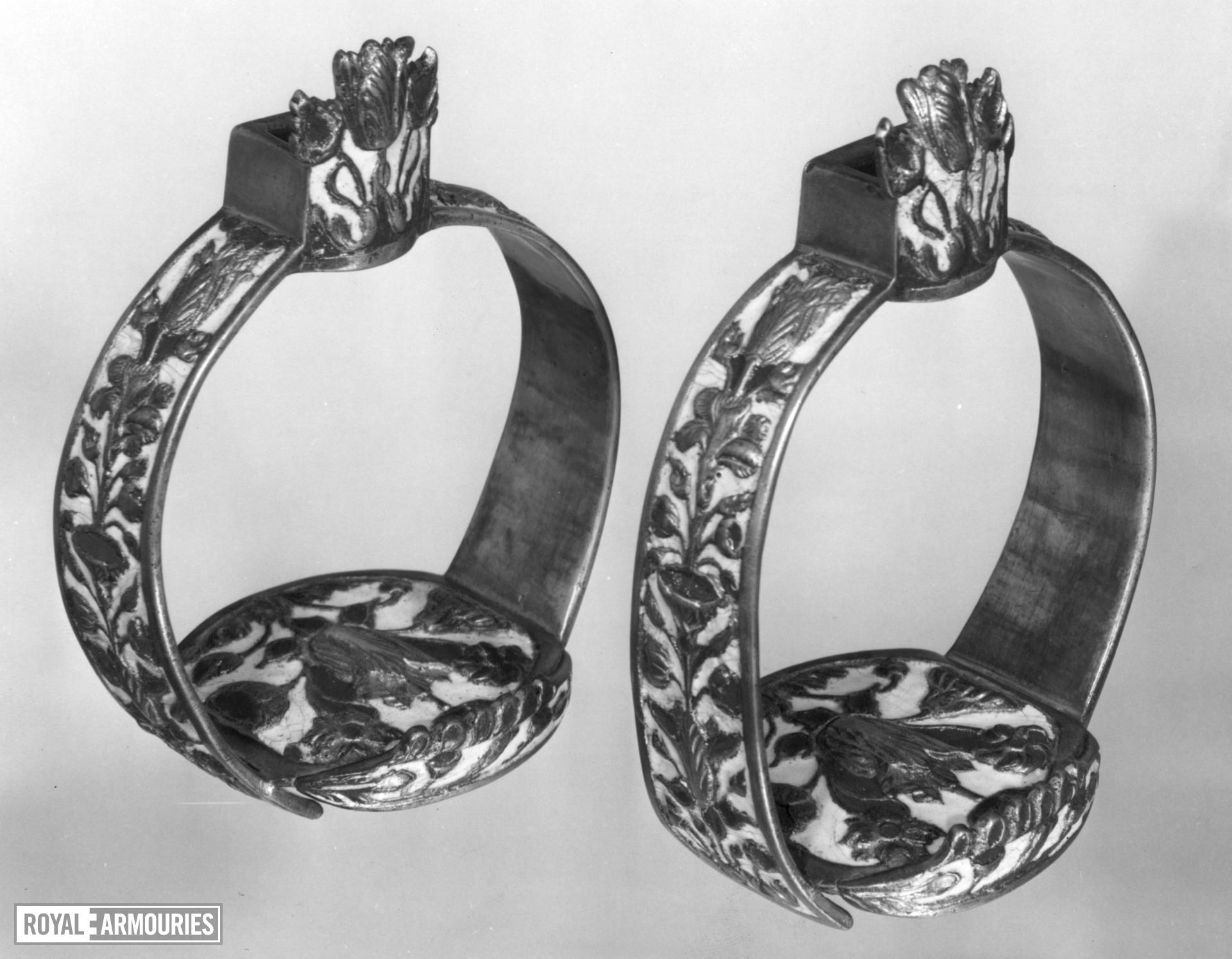 Stirrup In the style formerly known as 'Surrey' enamel (red and white). A pair to VI.327 C, and valued with VI.327 A)