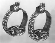 Thumbnail image of Stirrup In the style formerly known as 'Surrey' enamel (red and white). A pair to VI.327 C, and valued with VI.327 A)
