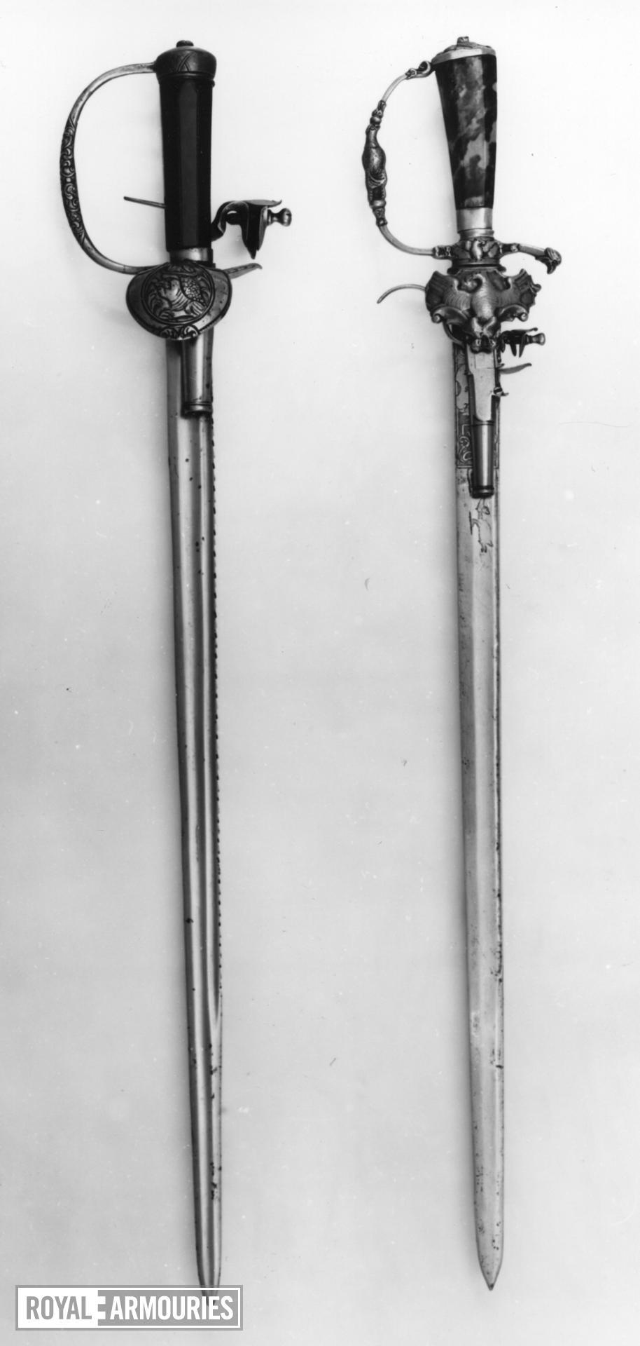 Flintlock combination hunting sword and pistol