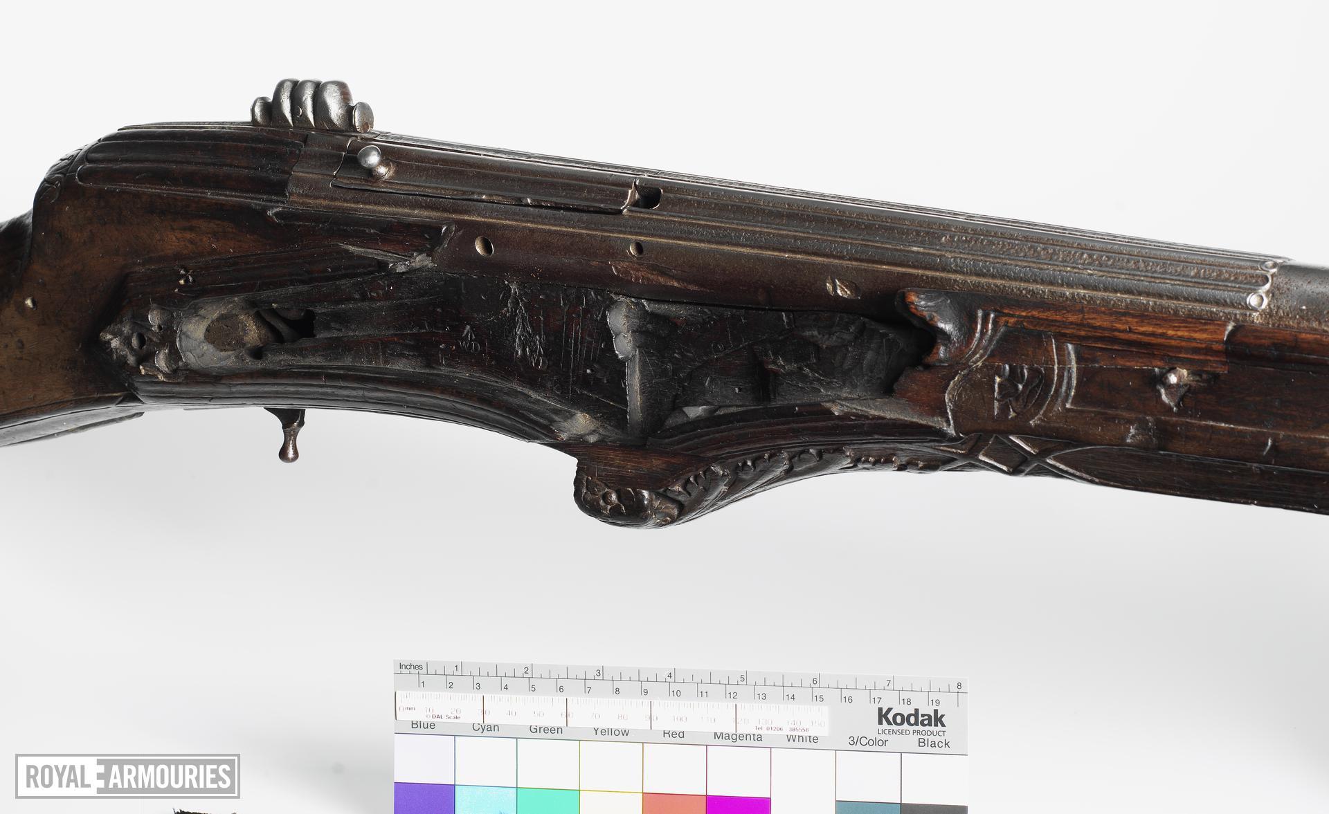 Wheellock breech-loading gun
