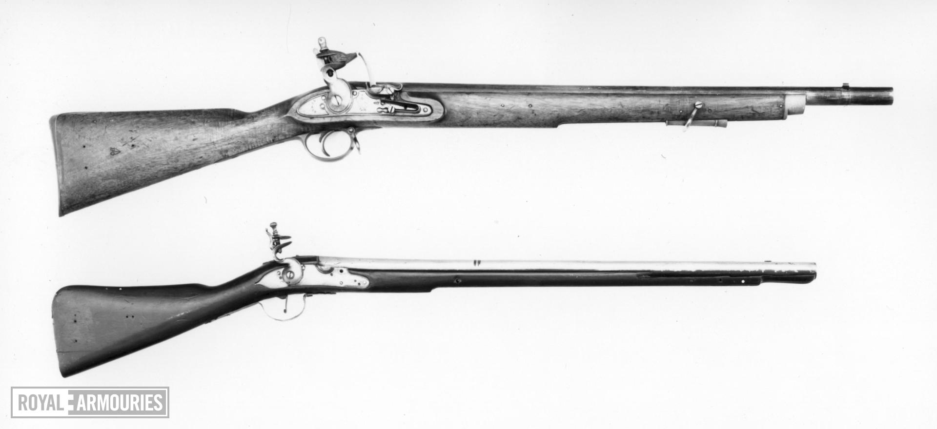 Flintlock muzzle-loading military carbine - By C. Rose