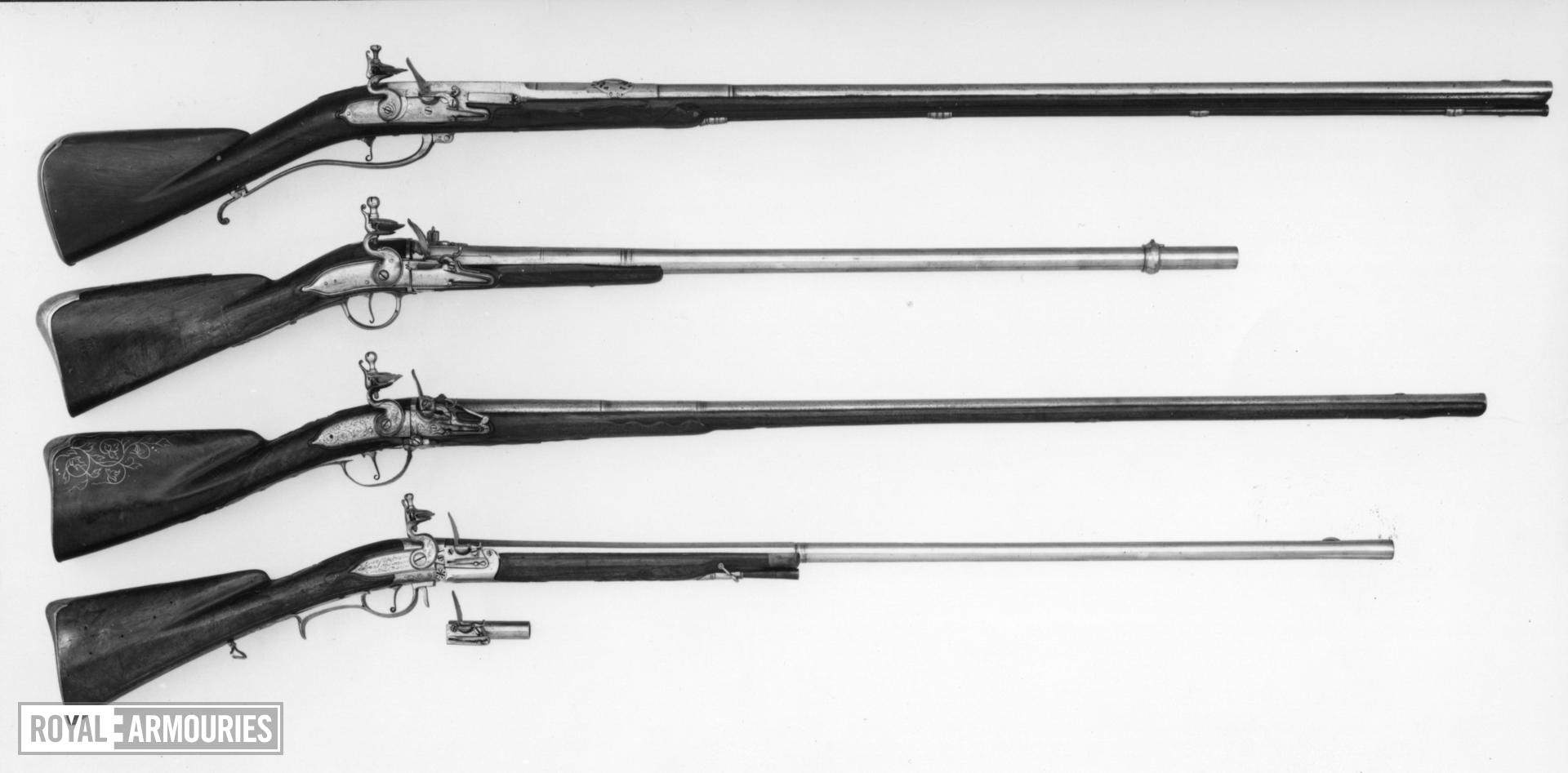 Flintlock breech-loading gun - N/A Sporting gun with removeable chambers