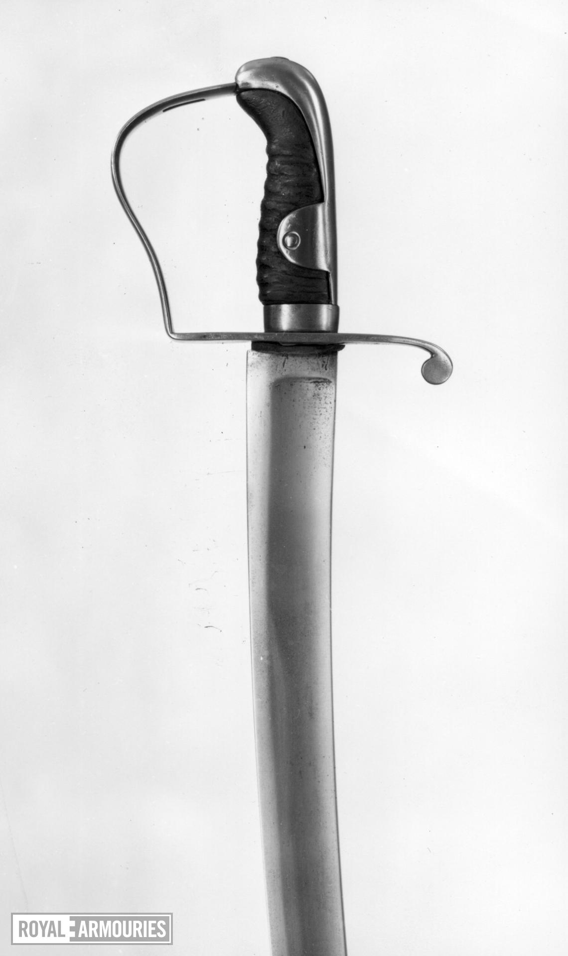 Sword and scabbard - Pattern 1796 Light Cavalry Trooper's sword and scabbard Langets missing. H 2 on blade