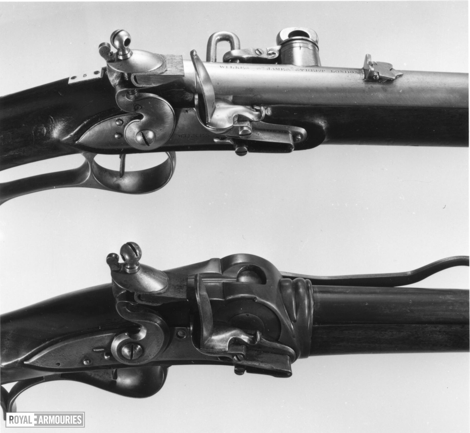 Flintlock breech-loading rifle - Hulme's Rifle Hulme's Rotating-breech rifle