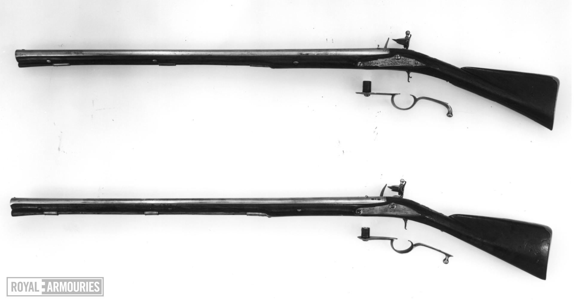 Flintlock breech-loading rifle - By John Hirst Screw plug system below barrel.