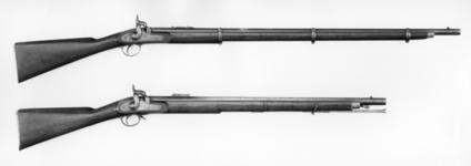 Thumbnail image of Percussion muzzle-loading military rifle-musket - Pattern 1853 Percussion military rifled musket Pattern of 1853, experimental, possibly created as part of the 1852 series of experiments under the Ordnance Select Committee. Left hand side of the butt stamped 'No 2'; underside of stock stamped G STAINTON; underside of barrel stamped '2'; inside of lockplate stamped '2' and 'GS'. Lock dated 1853. English, dated 1853