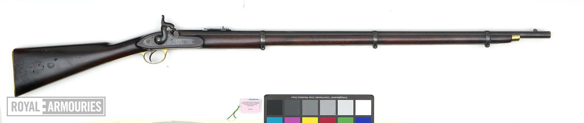 Percussion muzzle-loading military rifle-musket - Pattern 1853 Percussion military rifled musket Pattern of 1853, experimental, possibly created as part of the 1852 series of experiments under the Ordnance Select Committee. Left hand side of the butt stamped 'No 2'; underside of stock stamped G STAINTON; underside of barrel stamped '2'; inside of lockplate stamped '2' and 'GS'. Lock dated 1853. English, dated 1853