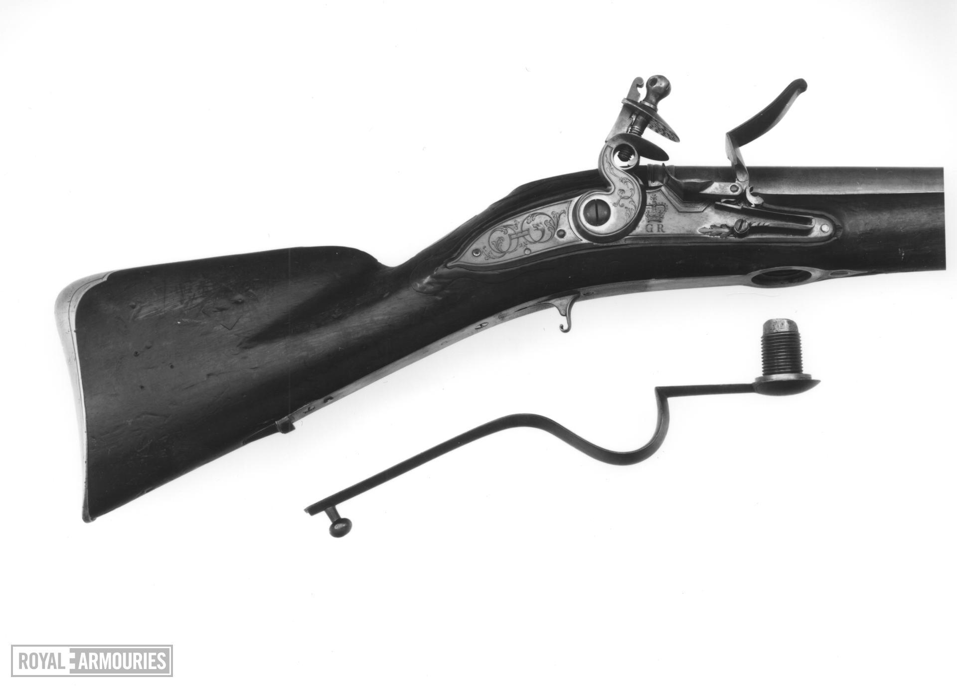 Flintlock breech-loading military wall gun - N/A Rifled
