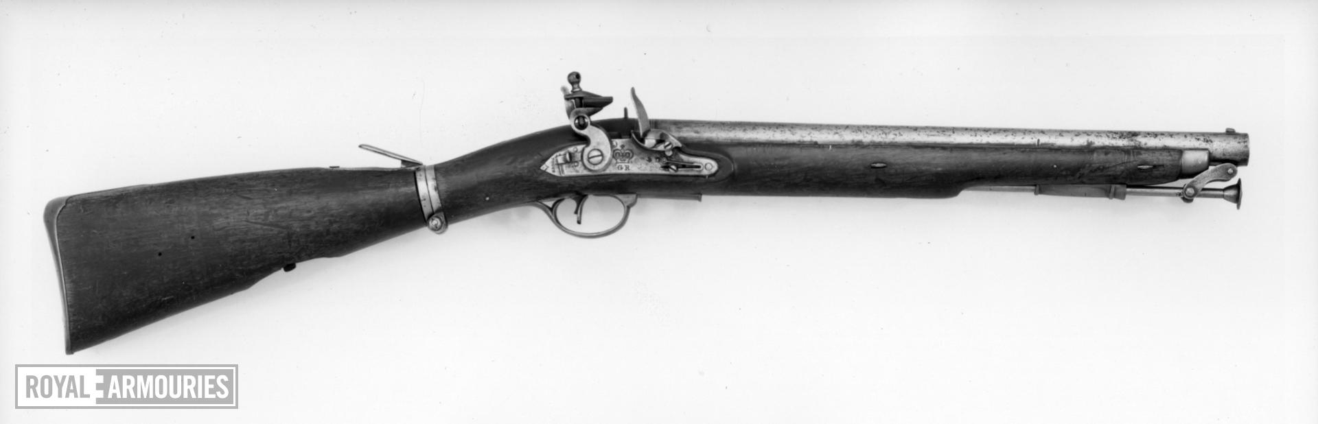 Flintlock military carbine (Paget carbine) for the 16th (Queen's) Light Dragoons. British, about 1805 (XII.1037)