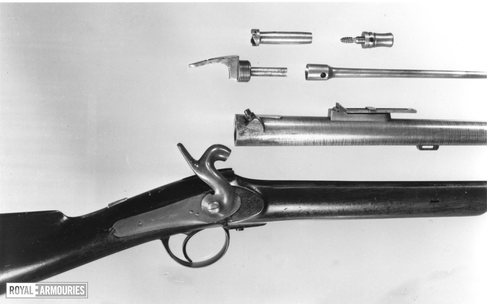 Percussion muzzle-loading military rifle - Lancaster Rifle Charles Lancaster's pillar breech rifle
