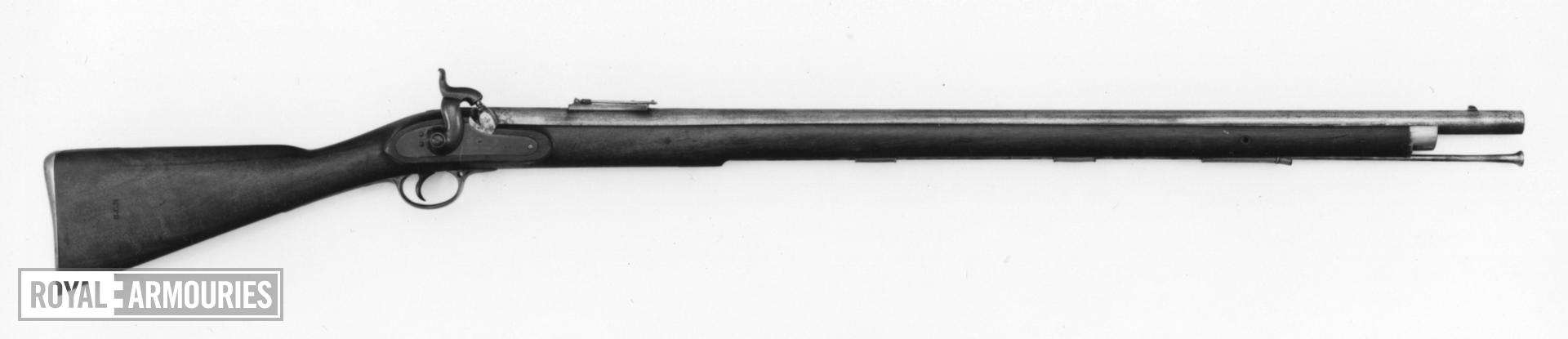 Percussion muzzle-loading rifle - Pattern 1842 By Deakin and Barnett, Enfield with Minie pattern sights, converted about 1850