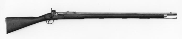Thumbnail image of Percussion muzzle-loading rifle - Pattern 1842 By Deakin and Barnett, Enfield with Minie pattern sights, converted about 1850